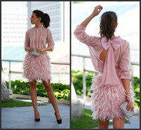 Wholesale evening dresses feathers mini for sale - Group buy New Gorgeous Feather Short Prom Dresses Pink Long Sleeves Open Back With Bow Evening Gowns Cocktail Party Dresses For Special Occasion