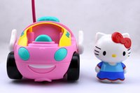 Wholesale Nitro Electric Cars - Wholesale-Hot sale Toy RC Hello Kitty Remote Control Car Pink kt Doraemon Electric With Music Light Cute brinquedos Children birthday Gift