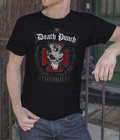 todesfelsen t-shirt großhandel-Fünf Finger Death Punch Männer schwarzes T-Shirt Metall Band FFDP Rock T-Shirt S-XXL