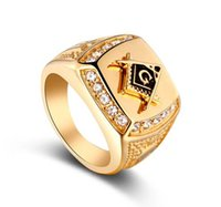 Wholesale wholesale masonic rings - NEW 24k Gold Classic Men's Punk Style Freemason Masonic Signet Ring Hip Hop Iced Out Bling Rings Fashion Jewelry Wholesale