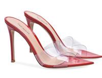 açık toed çıplak topuklu toptan satış-Kadınlar Açık Sivri Burun Şeffaf PVC Katır Yüksek Topuk Kırmızı Sandalet Çıplak Düğün Topuklu Bayanlar Siyah Stiletto Topuk Yaz Ayakkabı