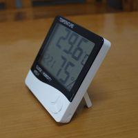 medidores de clima al por mayor-Sala digital Termómetro LCD Temperatura electrónica Medidor de humedad Higrómetro Estación meteorológica Reloj despertador interior HTC-1