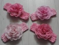 flores de crochet para faixas de bebê venda por atacado-20 pcs 8 cm tecido de chiffon macio malha headband flores para meninas acessórios para o cabelo, bebês crochet headband flores, criança knit headband flores
