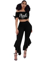 Wholesale shirts woman strapless - PINK Letter Women Tracksuit wide-leg trousers Ruffles Flares pants crop top Bell-bottom Secret Pant Strapless T-shirt outfit GGA694 6pcs