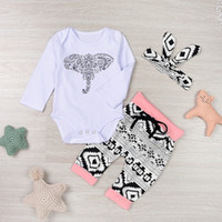 Wholesale Elephant Romper - Newborn long sleeve baby boy girl outfits clothes elephant romper+pants+headband 3pcs set 0-24 months baby gift