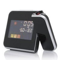 мультидисплейные часы оптовых-Цифровой будильник цветной экран проекции многофункциональный будильник погода время настольные часы Часы высокое качество ЖК-дисплей