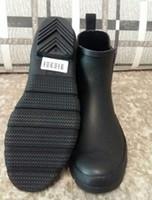 Wholesale rubber rain boots wholesale - New Women Jelly Ankle Matte Black Rain Boots Short Black Rubber Wellies Rain shoes drop shipping