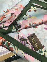 Wholesale flower scarfs - high quality Luxury Brand Women Silk Scarf 2018 Summer Designer Flower Long Scarf Label 180x90Cm Shawl Silk Letter Scarves with box