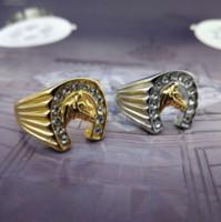 титановые бедра оптовых-Титан сталь лошадь голова кольцо, хип-хоп жокей мужской кольцо ювелирные изделия лучшие друзья высокое качество продвижение мужчины кольца G0009