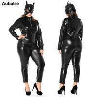 ingrosso donne in tuta nera in pelle di faux-Plus Size XXXL Sexy Catwomen Nero Tuta Faux Leather Catsuit Costumi Per Le Donne Signore Halloween Catwomen Costume Tuta