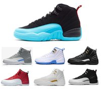 Wholesale roses for women - high quality 2018 men shoes 12 Basketball Shoes for men women taxi playoffs Gamma Blue black sport shoes 12s Sneakers size 7-13