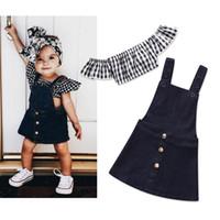 yazın için denim elbiseler toptan satış-Bebek Kız Kıyafetler Moda Ekose Çocuk Giyim Setleri 2018 Yaz Çocuk Giysileri Ekose Straplez Tops + Denim Askı Elbise 2 adet Setleri
