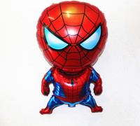 Wholesale balloon for boys toy online - 50pcs hot sale spiderman foil balloons cartoon spider man balloon for boy birthday decoration party supplies