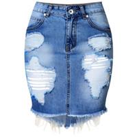 saias jeans para mulheres venda por atacado-Mini Denim Saia Das Mulheres 2016 Verão Casual Dividir Cintura Alta Curto Calça Jeans Saia Irregular Sexy Lápis Saias Das Mulheres Jupe Faldas S916