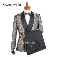 d741ddf2b6d2a Gwenhwyfar Shawl Patrón de oro de solapa negro Trajes de los hombres Negro  Diseño a medida Slim Fit Padrinos de boda Esmoquin de fiesta Fiesta de  baile de ...