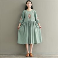 Wholesale casual maxi dresses for girls - Autumn Spring Vintage Dresses for women Mori girl Flower Embroidery Long sleeve O neck women dress Green color