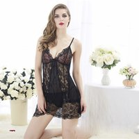 Sexy Lace Nightgown Women Sleepwear Pyjamas Mini Bathrobe Tempatation Silk  Slip Sleepwear Chemises Summer Home Clothes S1015 fbfd71081