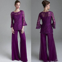 Wholesale classy yellow dresses - Classy Purple Lace Mother Of The Bride Pant Suits Sheer Jewel Neck Long Sleeves Wedding Guest pantsuit Plus Size Mothers Groom Dresses