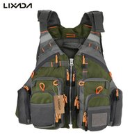 Wholesale sail clothing online - Lixada Fly Fishing Vest Adjustable Mesh Mutil Pocket Outdoor Sport Life Safety Jacket Swimming Sail for Pesca fishing clothes