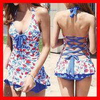 Wholesale Womens Swim Suits Bikini - Strawberry women Swimsuit womens Bikini printed Pin Up Sexy Push Up Halter Tankini Swim Dress Swimwear 2018 Bathing Suit Beachwear