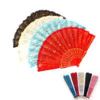 Wholesale female pole resale online - High Grade Lace Hand Fan Double Deck Folding Fan Dance Perform Plastic Wedding Favors For Guest Gifts Arts And Crafts kf gg