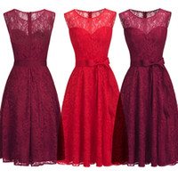 Wholesale red laced cocktail dresses resale online - Full Lace Short Cocktail Designer Occasion Dresses Red Burgundy Christmas Party Dress Sleeveless Knee Length Formal Evening Wear CPS1145