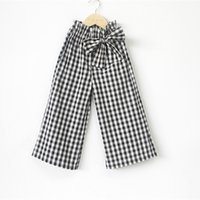 Wholesale Middle Child Clothing - New Arrival Children Girls Plaid Nine Pants Spring Autumn Cotton Thicken Waist Bow Kids Clothing Middle and Big Child Casual Trousers