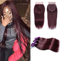 Wholesale dark red hair weave - Peruvian Human Hair 3 Bundles with 4X4 Lace Closure Straight 99J Burgundy Dark Red Virgin Colored Hair Weave Wefts Extension 12-24 Inch