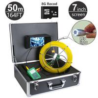 câmera industrial de inspeção de tubos venda por atacado-Função do sistema DVR da câmera da inspeção da tubulação de esgoto de 50M / 164ft com o cartão 8GB 7