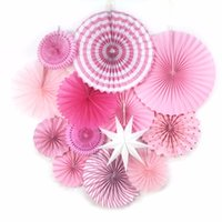 ingrosso fornitori nuziali-13pcs / Set Pink Theme Party Fornitore Fan di carta Hanging Decorations Rosette di carta Sfondo compleanno Nuziale Showers Matrimoni Decor
