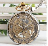 Wholesale types men watches resale online - Hand made steampunk mechanical watch core gold and silver men premium gift table watch hollowed out machine core