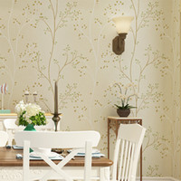 Wholesale wood contact paper - beibehang pastoral green tree non woven TV background wallpaper For living room bedroom 3D papel contact mural Wall Paper