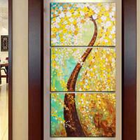 painéis de flores de pintura a óleo venda por atacado-Frete Grátis 3 Painéis HD Impressão Abstrata Árvore de Ouro Pintura A Óleo Da Flor Na Lona Decoração de Casa Arte Da Parede Imagem Para Sala de estar
