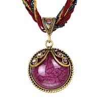 ethnisches zubehör großhandel-Indonesian Style Ethnic Long Drop Halskette mit exotischen farbigen Band für Reise Frauen Kleidung Zubehör Runde Schmuck