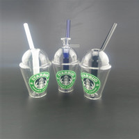 Wholesale Coned Stock - 20cm Cup Bong in-line Perc 14.4mm female smoking pipe hookahs High quality recycler oil rigs with cone piece in stock safe packag