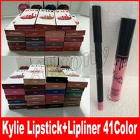Wholesale Velvet Stockings - 41colors KYLIE JENNER lipstick lipgloss lipliner Lipkit Velvetine Liquid Matte kits Velvet Makeup liner pencil in stock keyshadow beauty