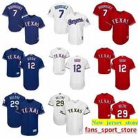 jersey de iván rodríguez al por mayor-2019 Mens Majestic Custom 7 Ivan Rodriguez 29 Adrian Beltre 12 Rougned Odor 3 Russell Wilson Ts Rangers Jersey de béisbol 100% cosido