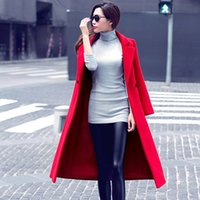 Wholesale woolen winter coat womens - FEITONG Womens Fashion Autumn Winter Long Woolen Coat Overcoat Parka winter jacket women windbreaker Outwear Cardigan