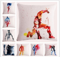 aquarela de travesseiro venda por atacado-45845 cm Aquarela Superhero Decorativa Fronha Jogar Comic Coxim Dos Desenhos Animados Sala de estar Quarto Sofá Decor fronha FFA801