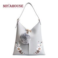 Wholesale korean pendant design - Miyahouse Korean Design Floral Embroidery Solid Color Large Capacity Handbag Women Casual PU Ball Pendant Shoulder Shopping Bags