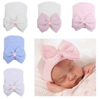 Wholesale girl baby cap hair resale online - Newborn Big Hair bows knit hat Beanie hats Baby girl Beanies Cap Infants bonnet Striped European Spring Fall winter monthss