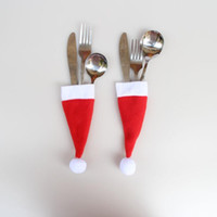 Wholesale table cloth holders resale online - 200pcs Christmas Decorative tableware Knife Fork Set Christmas Hat Storage Holder Tool XMAS Decoration Party Tableware Dinner Table