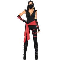 ingrosso costume fantasma nero-Costumi di Halloween Ghost Festival nero sexy Ninja tuta con scollo a V abiti fantasma costume cosplay partito con cintura