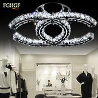 deckenleuchten großhandel-Luxus LED Kristall Decken Kronleuchter Licht Beleuchtung K9 Kristall Kronleuchter Deckenleuchte Lüster de Cristal für Wohnzimmer Foyer Restaurant