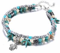 Wholesale Trendy Bracelets For Girls - Boho Ethnic Antique 2 Layer Ankle Bracelet Cute Starfish Cuckold Halhal Foot Chain For Women Summer Beach Jewelry Tornozeleira
