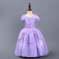 lila kostüm großhandel-Neue Mädchen Rapunzel Kostüm Kinder Prinzessin Outfit Cosplay Weihnachten Kleid Für Mädchen Prinzessin Lila Tüll Kleid HH7-1036