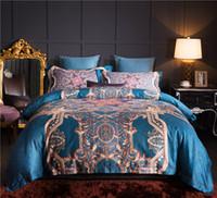 ingrosso set da letto d'argento viola-Lusso 80S Egitto Cotton Palace Baroque Bedding Set stampa digitale Copripiumino Lenzuolo Federa Queen King size 4Pcs