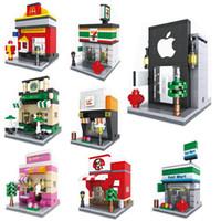 bina mağazası toptan satış-Blokları Şehir Mini Sokak Yapı Serisi Görünüm Sahne Mini Şekil Kahve Dükkanı Perakende Mağaza Mimarileri Modelleri Montaj Yapı Taşları Oyuncak