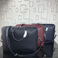 Wholesale briefcase metal - New European classic luxury style bag, male and female general briefcase, pure color and genuine leather making silver metal alphabet