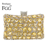 gold prom handtaschen großhandel-Boutique De FGG Elegante Hot-Fixed Frauen Gold Kristall Abend Geldbörse Hochzeit Prom Strass Handtasche Clutch Minaudiere Tasche